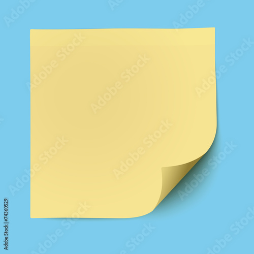 Yellow sticky note placed on blue