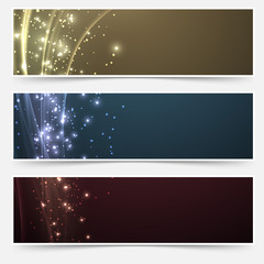 Bright magic shimmering headers collection