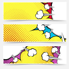 Pop art comic book yellow header collection