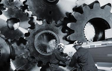 mechanic, workers with giant cogwheel machinery