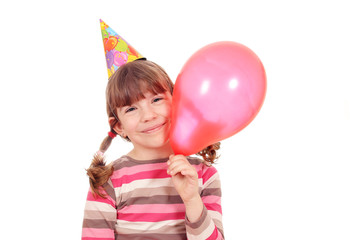 happy little girl with balloon birthday party