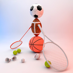 Assorted sports equipment forming a person.