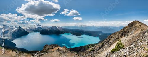 Panorama of Garibaldi lake from Ridge