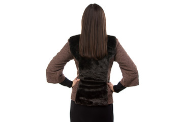 Image of woman in fur waistcoat from back