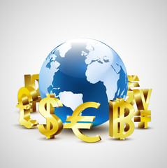 golden world currency symbols moving around 3d world