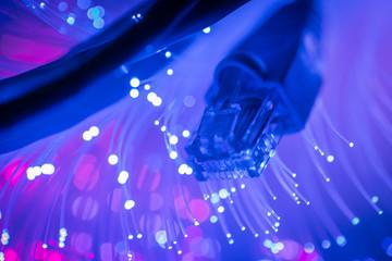 Network cables closeup with fiber optic. Selective focus.