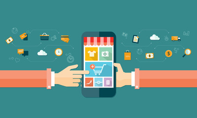 vector business mobile online shopping and e-marketing