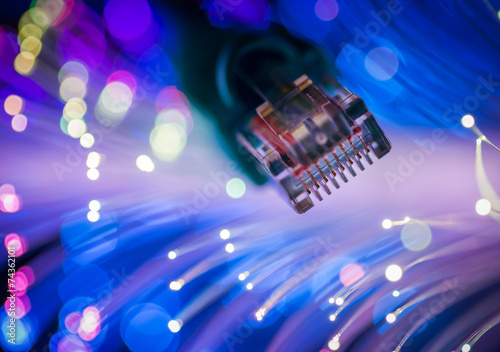 Network cables closeup with fiber optic. Selective focus. - 74362101