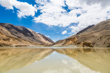 Mountain reflecting in a lake in Ladakh
