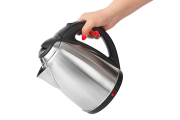 Electric kettle in hand