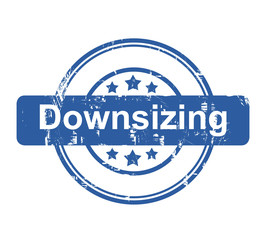 Downsizing business concept stamp