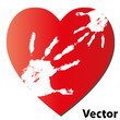 Vector child hands over a red heart