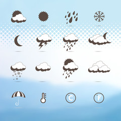 Weather icons. Abstract background,