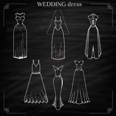 Wedding dress Set on Chalkboard style