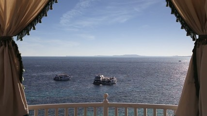 Seascape with some yachts anchored. Sharm El Sheikh, Egypt