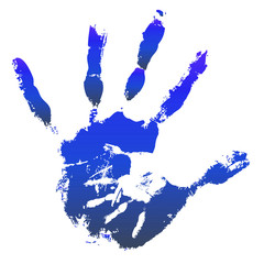 Conceptual mother and child hand print isolated