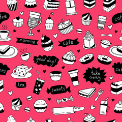 Cute hand drawn food and cafe seamless pattern