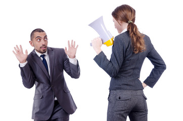 Office conflict between man and woman isolated on white