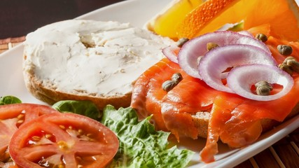 Open face smoked salmon sandwich with cream cheese
