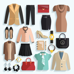 Businesswoman Clothes Icons