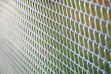 Closeup of wire mesh fence with copy space
