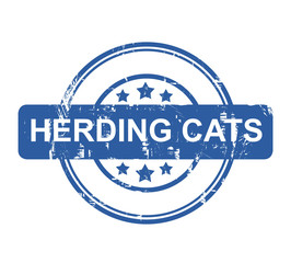 Herding Cats business concept stamp