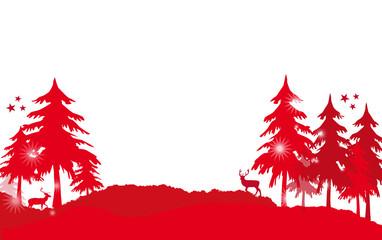 Weihnachten Wald rot Hintergrund Landschaft
