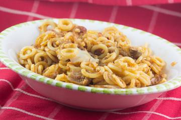 Piatto di pasta al sugo e formaggio