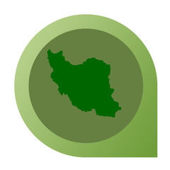 Isolated Iran map marker pin
