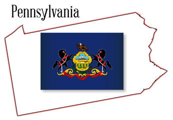Pennsylvania State Map and Flag