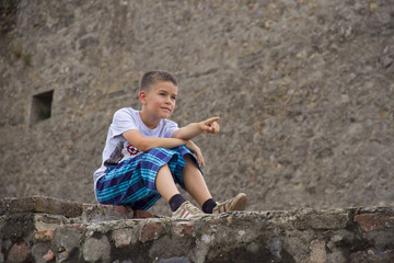 The boy on the stone fence