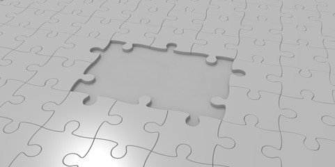 3D grey gray jigsaw puzzle pieces