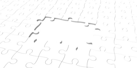3D white jigsaw puzzle pieces