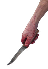 Hand holding knife with blood. Isolated on white