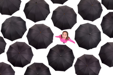 Girl iamongst umbrellas