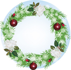 decorated fir round frame with white roses