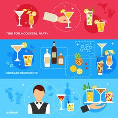 Alcohol Cocktails banner set