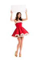Christmas woman hold big white card