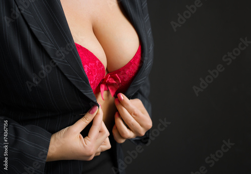 Sexy business lady wearing red bra - 74367156