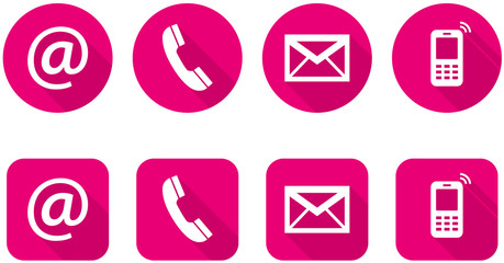 Set of web pink flat icons, two variants - Contact Us