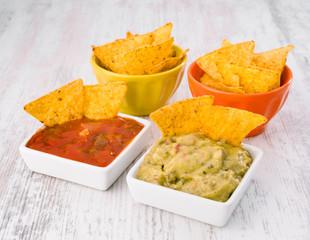 source of nachos with salsa