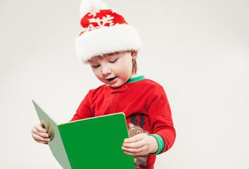 christmas boy reading book