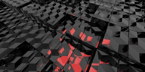 Abstract black and red glass background of 3d blocks