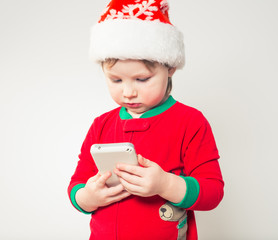christmas boy with phone