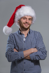Smiling bearded christmas man