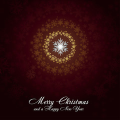 Brown christmas card with golden snowflakes