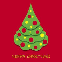 Red Christmas card with Christmas tree, vector