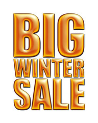 Big Winter Sale text in red orange on white background.