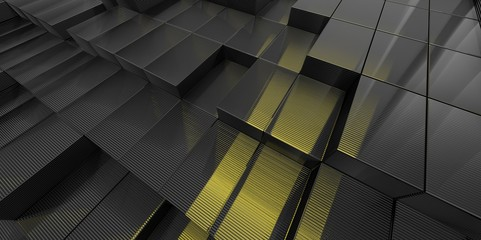 Abstract black and yellow glass background of 3d blocks
