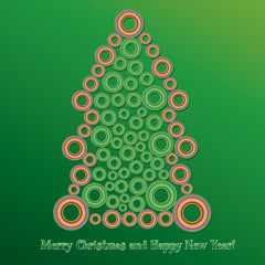 Fir tree made from colored bubbles, vector illustration